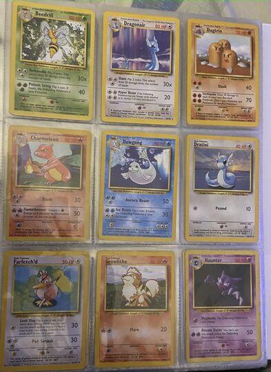 Pokemon Base Set Collection Charmander, Bulbasaur, Squirtle, Charmeleon, Ivysaur, Wartortle, Pikachu