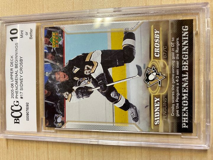 2005/06 Upper Deck Phenomenal Beginning card number 17, Sidney Crosby rated 10by Beckett