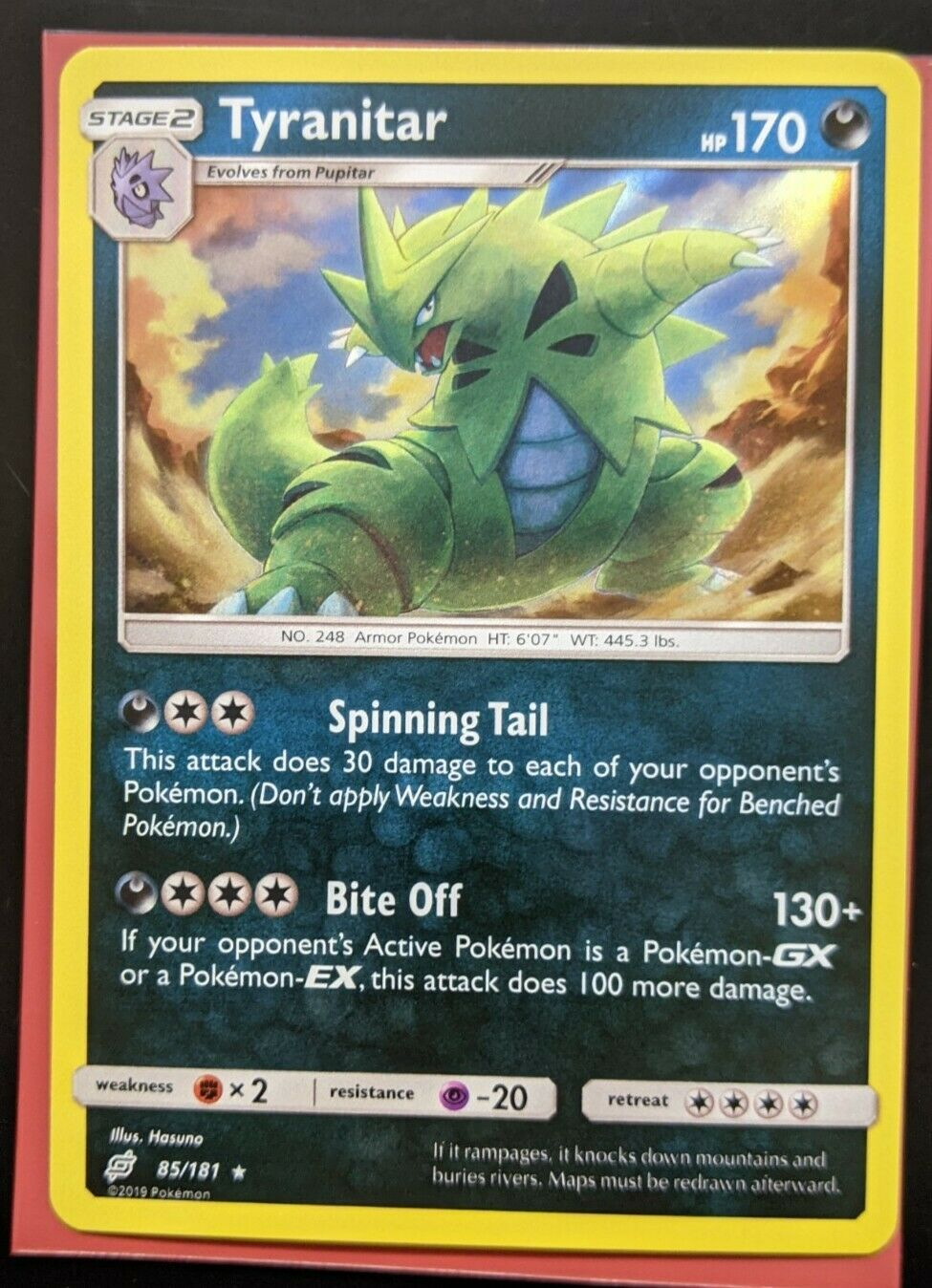 Pokemon Tcg SM Team hasta 85//181 Tyranitar Holográfica tarjeta rara