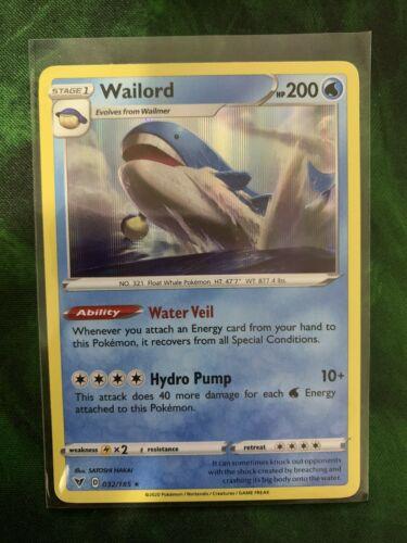 4x Wailord 032//185 Holo Rare NM-Mint Pokemon SWSH4 Vivid Voltage