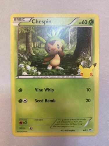 Pokemon TCG Chespin 6/25 NON HOLO McDonald's 2021 Promo 25th Anniversary MINT/NM