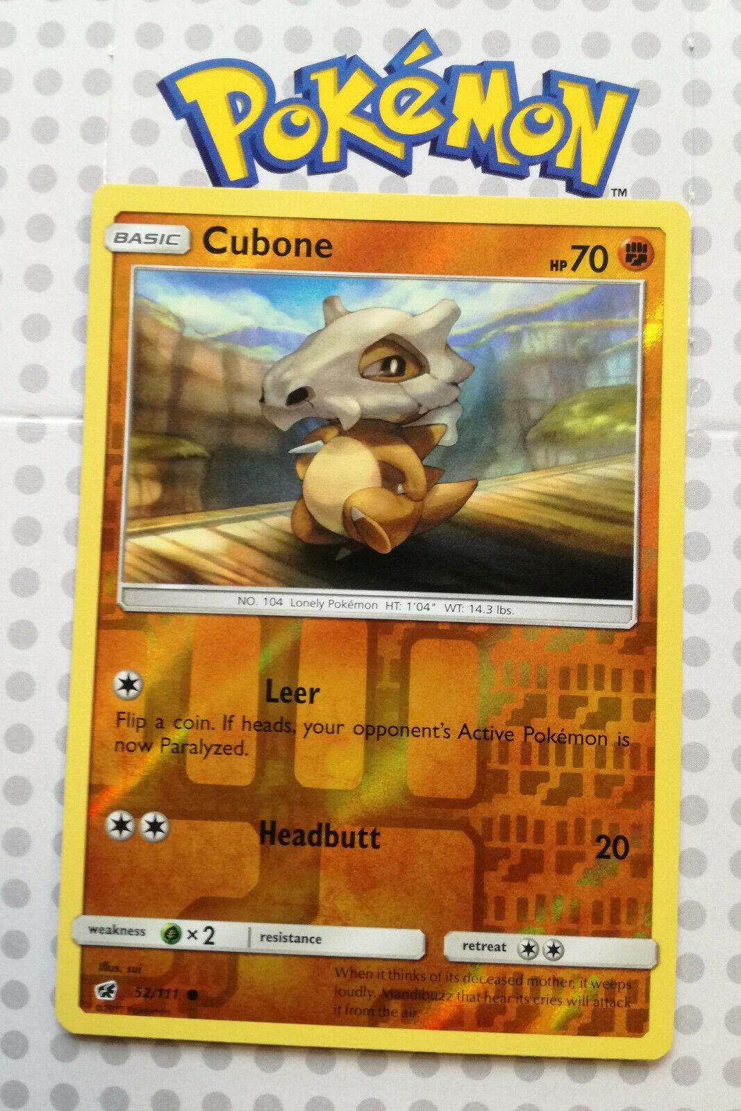 Pokemon card Cubone 52/111 Reverse Holo Basic Crimson Invasion Mint - Image 1