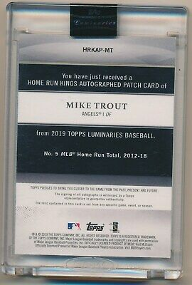 MIKE TROUT 2019 Topps Luminaries HOME RUN KINGS ON CARD AUTO PATCH 12/15 ANGELS - Image 2
