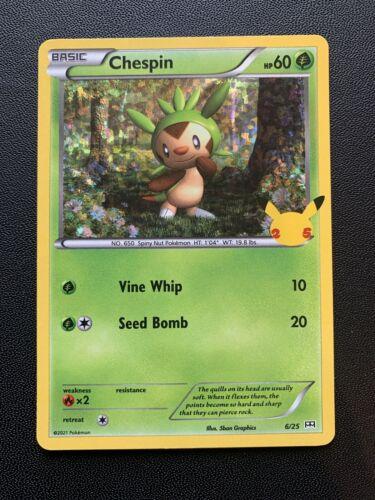 Pokemon TCG 25th Anniversary McDonald's Promo Chespin Holo 6/25 NM-Mint