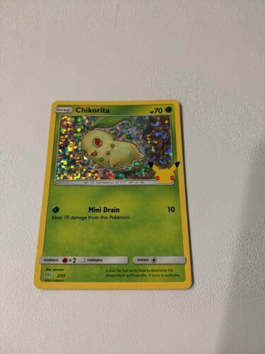 Pokemon Chikorita 2/25 Holo Foil 25th Anniversary McDonald's 2021 Promo Card New
