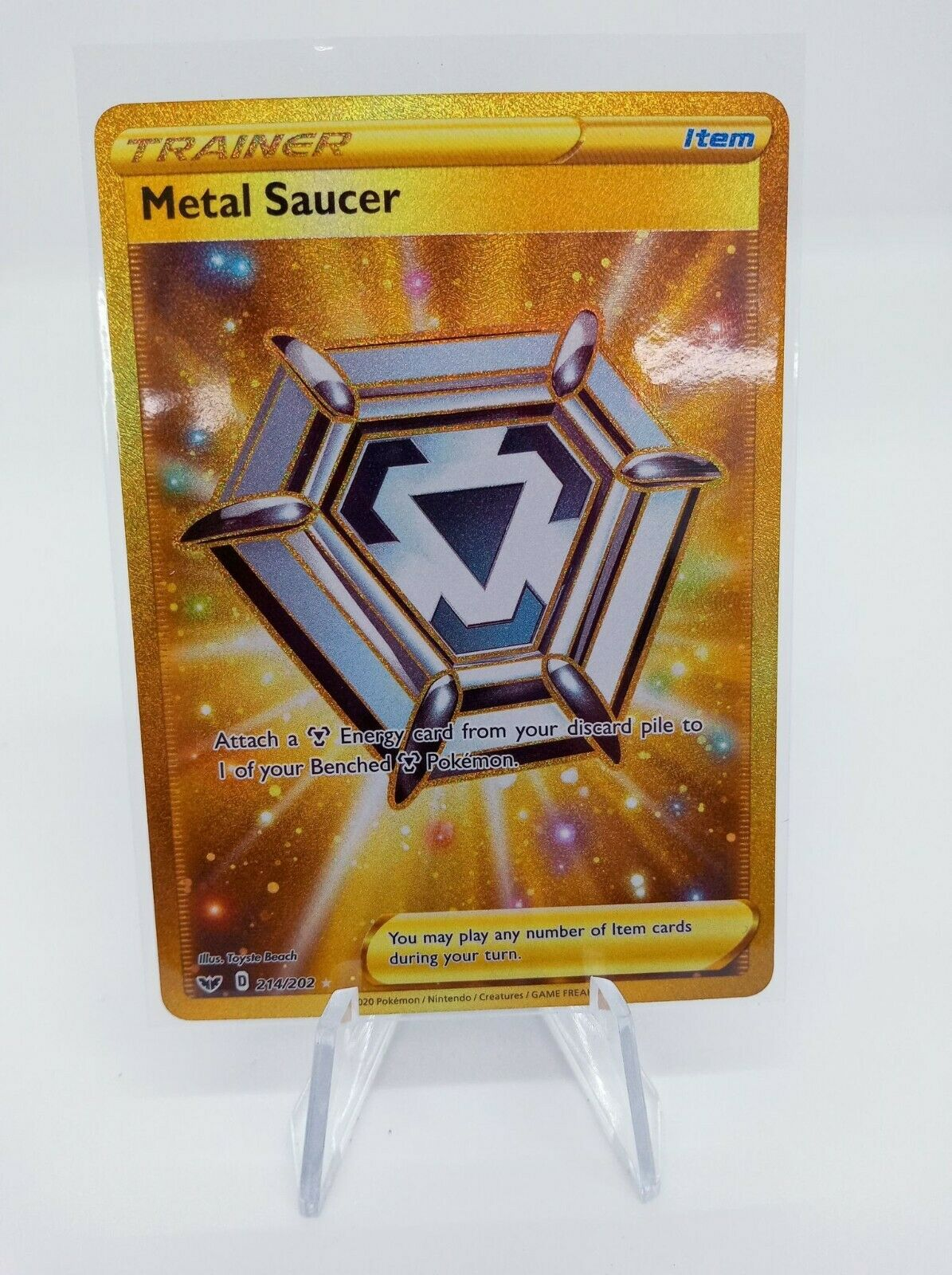 Pokemon Sword /& Shield  #214 Full Art Metal Saucer Secret PSA 10