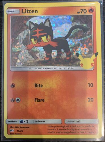 Litten 15/25 - Pokemon 25th Anniversary - McDonald's Stamped HOLO Promo NM/M