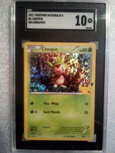 2021 CHESPIN HOLO 6/25 McDonald's Pokemon Card 25th Anniversary SGC 10