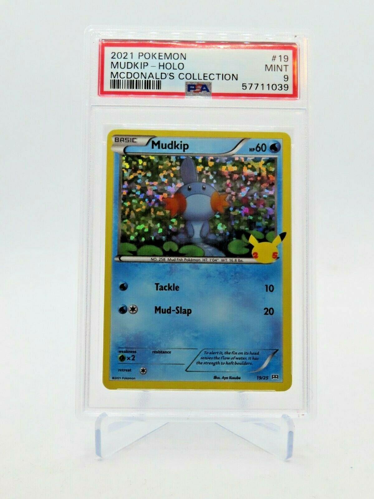 2021 McDonald's Pokemon Mudkip Holo 25th Anniversary Promo 19/25 MINT PSA 9
