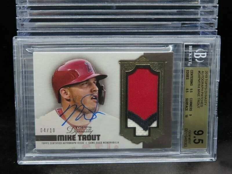 2019 Topps Dynasty Mike Trout GU Patch Auto #04/10 BGS 9.5/10 GEM MINT L634 - Image 1