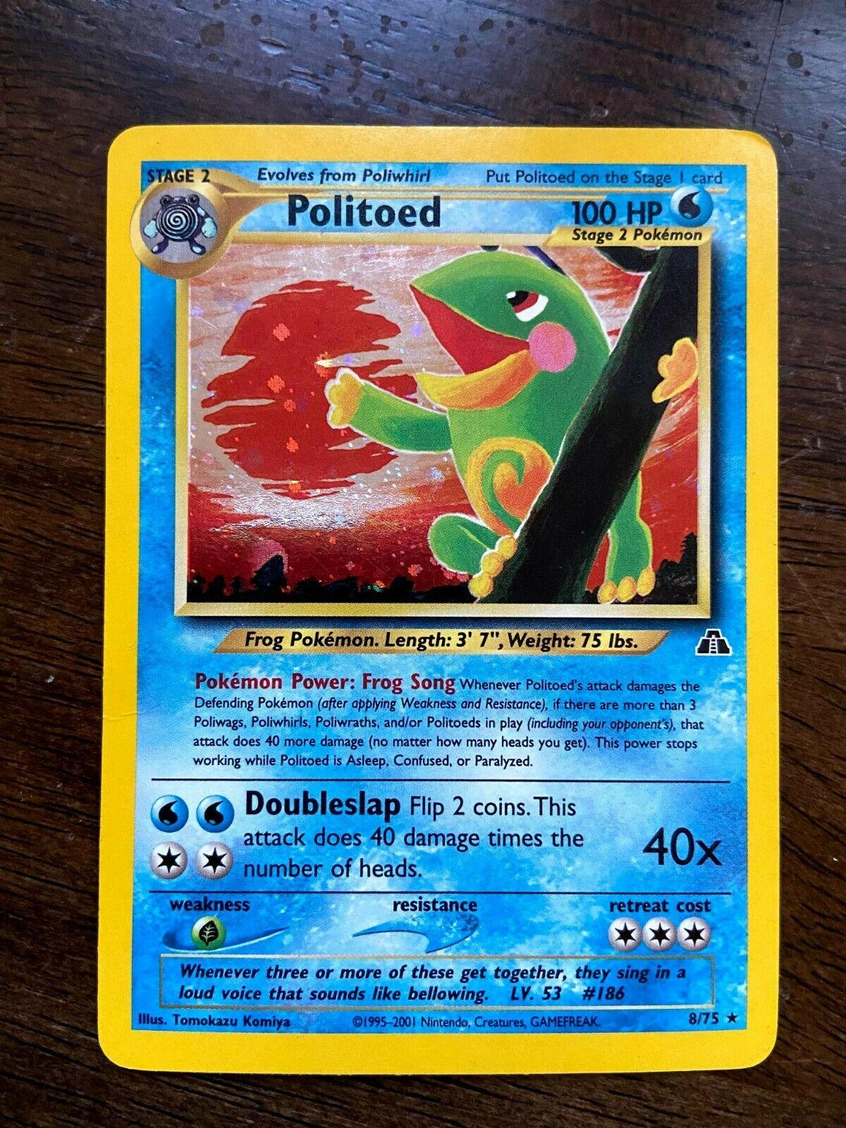 Politoed - 8/75 - Neo Discovery Rare Holo Pokemon Card - LP/NM - Image 1