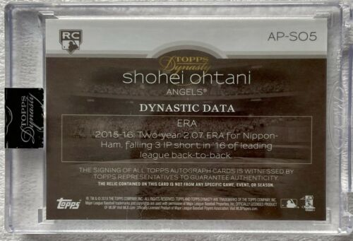 2018 Topps Dynasty SHOHEI OHTANI RC ROOKIE JMBO PATCH AUTO SP 5/5 1/1 Mike Trout - Image 2
