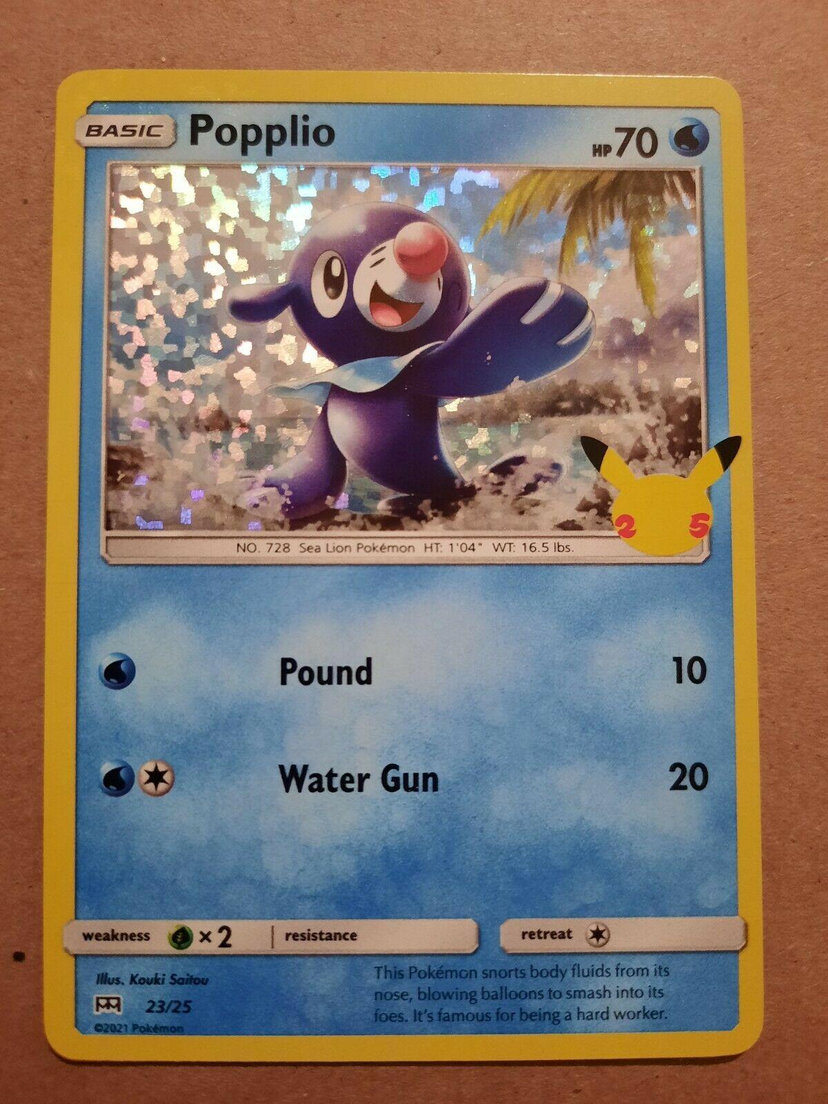 Popplio McDonald's Pokemon Card Holographic 2021 23/25 25th Anniversary