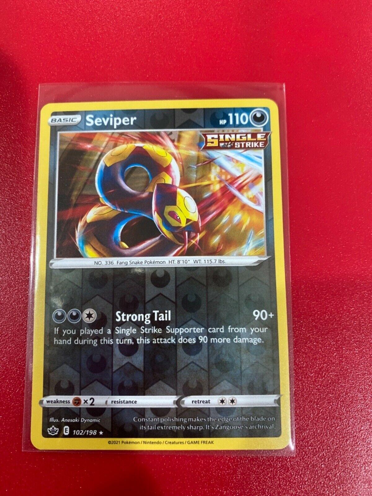 Pokemon TCG Chilling reign reverse holo Seviper 102/198 NM  - Image 1