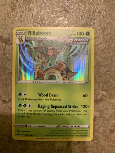 Pokemon Rillaboom Rapid Strike Holo Chilling Reign 018/198 Near Mint