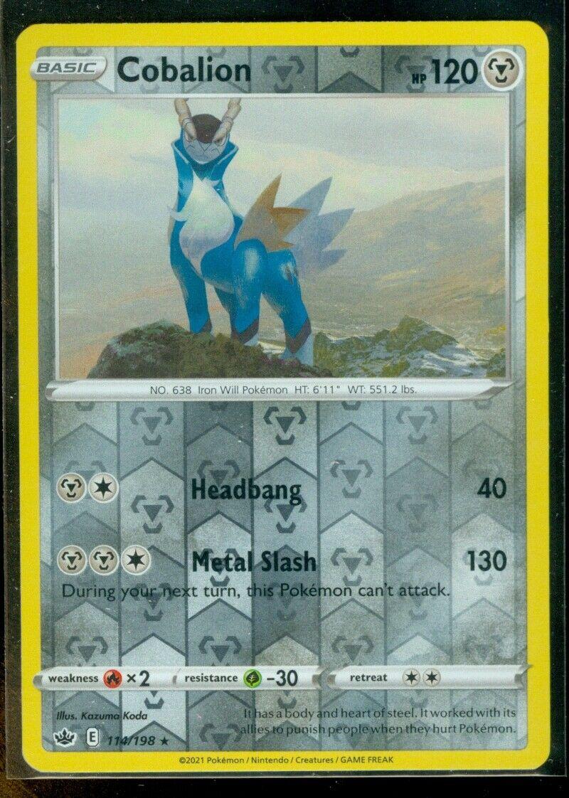 Pokemon COBALION 114/198 Chilling Reign - RARE Rev Holo - - MINT