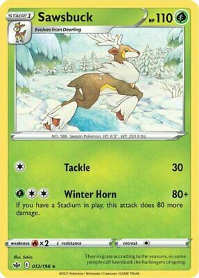 x1 Sawsbuck - 012/198 - Rare - Reverse Holo Pokemon SS06 Chilling Reign M/NM