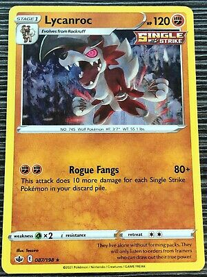 Pokemon : SWSH CHILLING REIGN LYCANROC 087/198 RARE HOLO