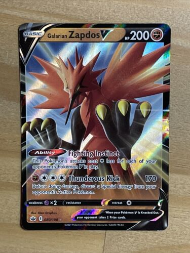 Pokemon Galarian Zapdos V 080/198 Ultra Rare Chilling Reign NEW IN-HAND