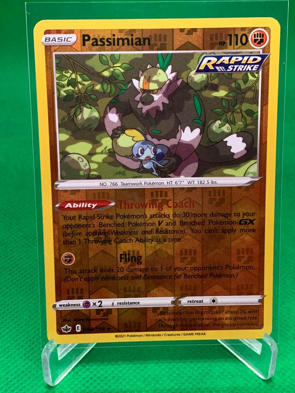 Pokemon - Passimian - Chilling Reign - 088/198 - Reverse Holo Rare