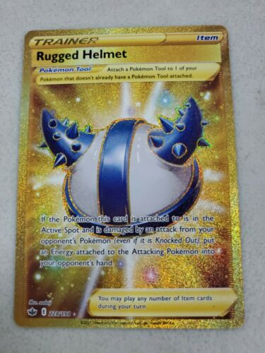 Pokemon Rugged Helmet 228/198 Gold Secret Rare Chilling Reign NM/M - Image 1