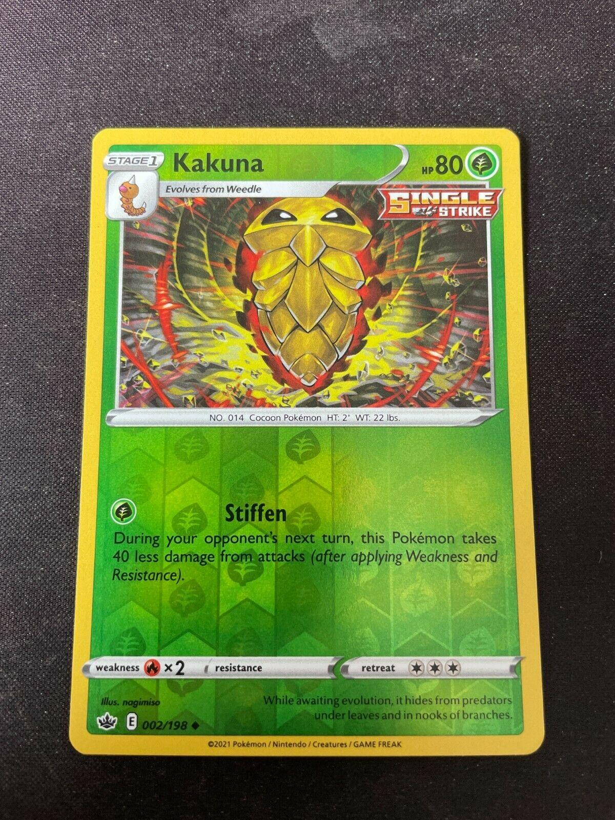 Pokemon TCG Chilling Reign 002/198 Kakuna Card Fresh Reverse Holo Mint Rare