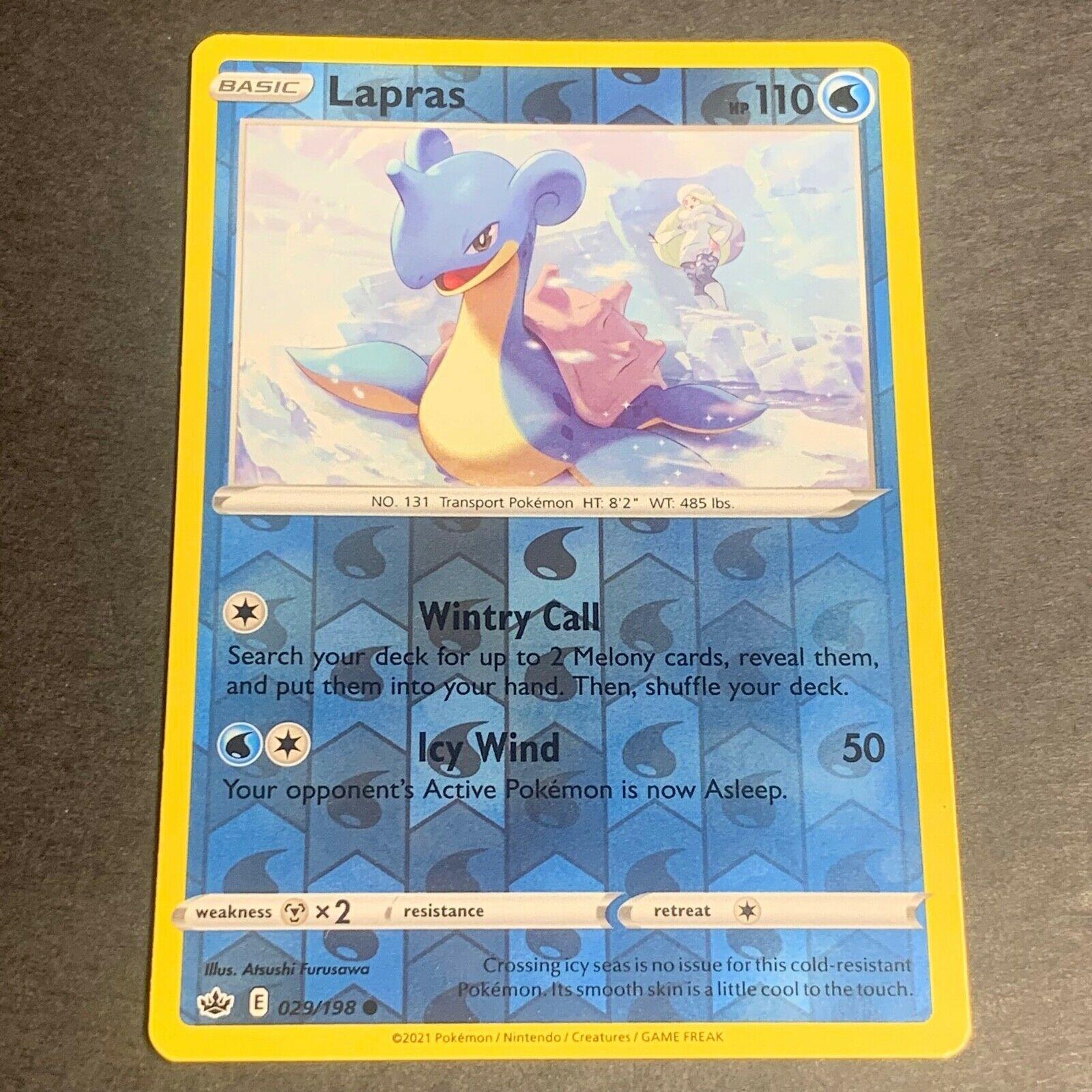 Pokemon S&S Chilling Reign Set REVERSE HOLO (C.) Lapras 029/198 - Near Mint (NM)