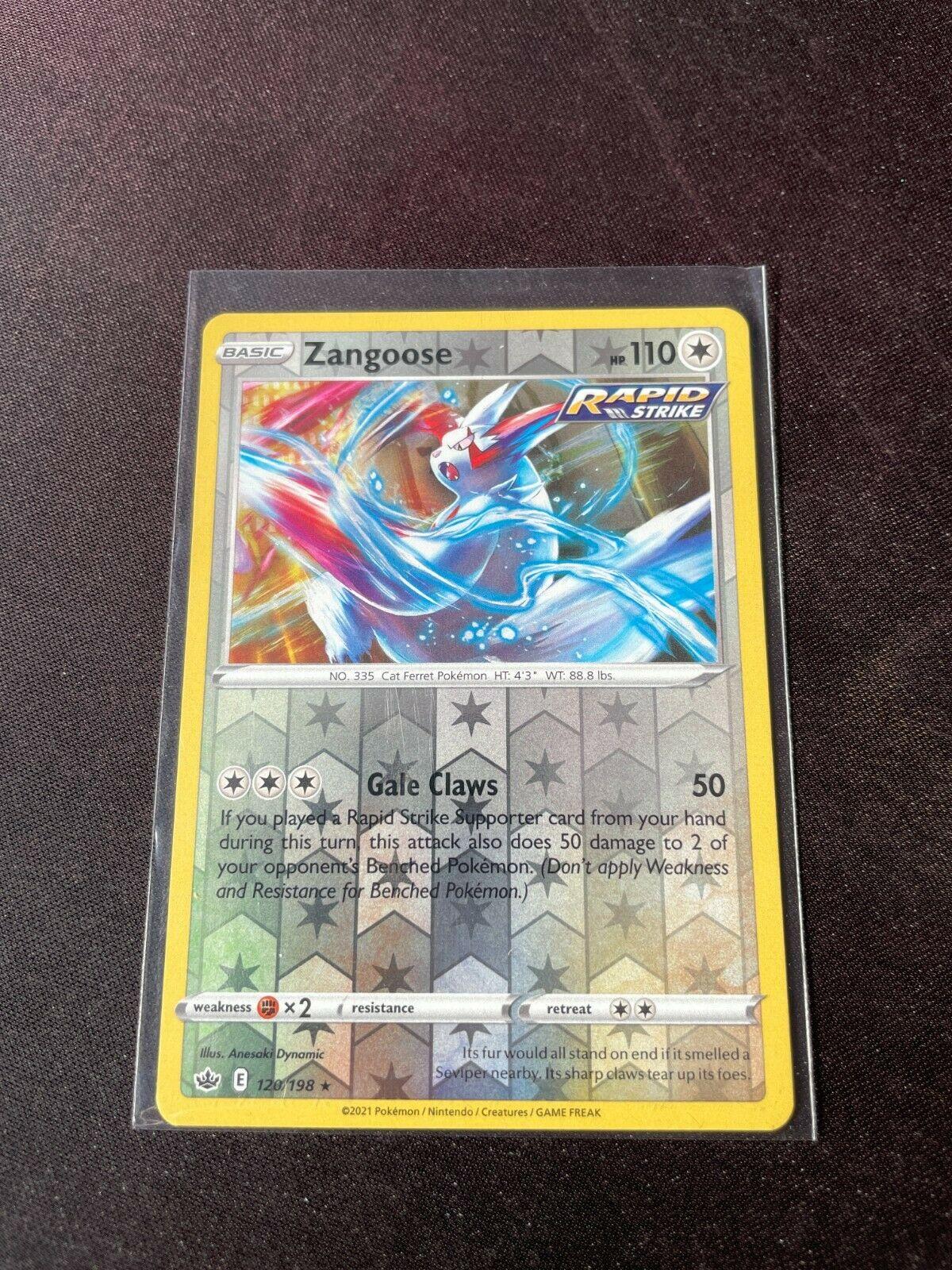 Pokemon TCG Chilling Reign 120/198 Zangoose Card Fresh Reverse Holo Mint Rare