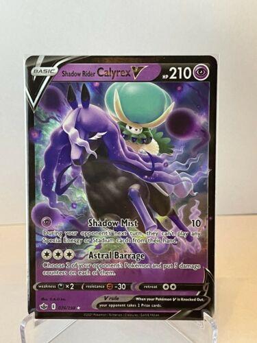 Pokemon TCG Chilling Reign SHADOW RIDER CALYREX V Holo Rare Card  # 074/198
