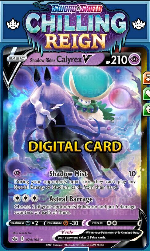 (Digital Card) Shadow Rider Calyrex V 074/198 Chilling Reign PTCGO