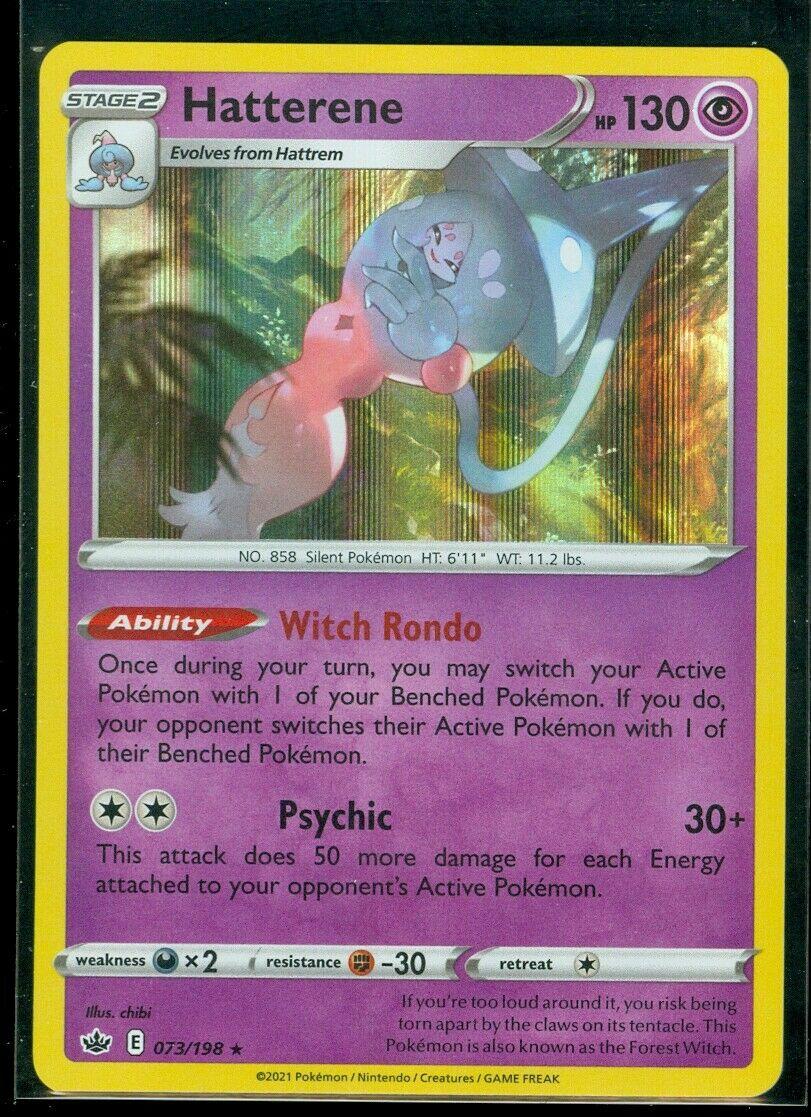 Pokemon HATTERENE 073/198 Chilling Reign - RARE HOLO - - MINT