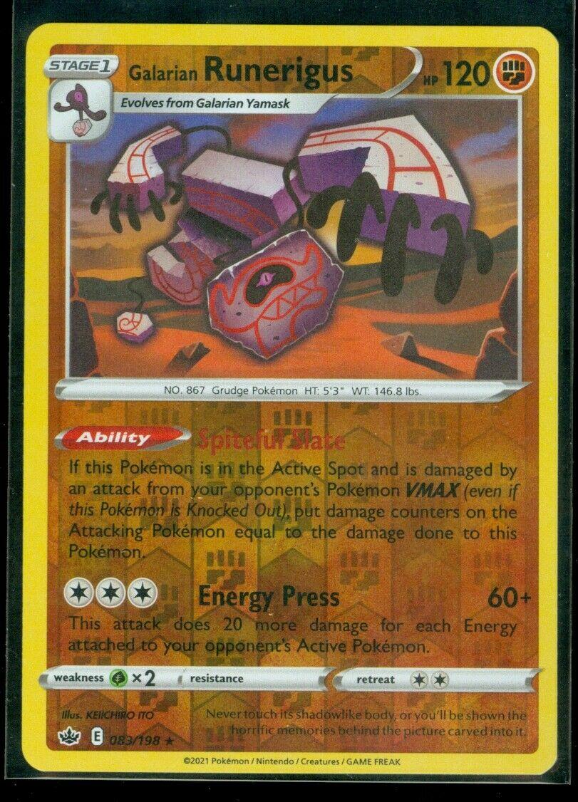 Pokemon GALARIAN RUNERIGUS 083/198 Chilling Reign - RARE Rev Holo - - MINT