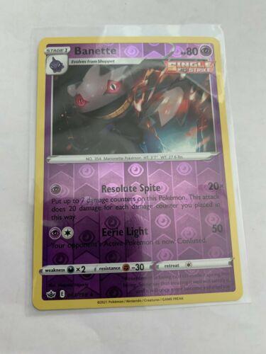 Pokemon Card Chilling Reign Banette - 063/198 - Rare Reverse Holo NM/ Mint