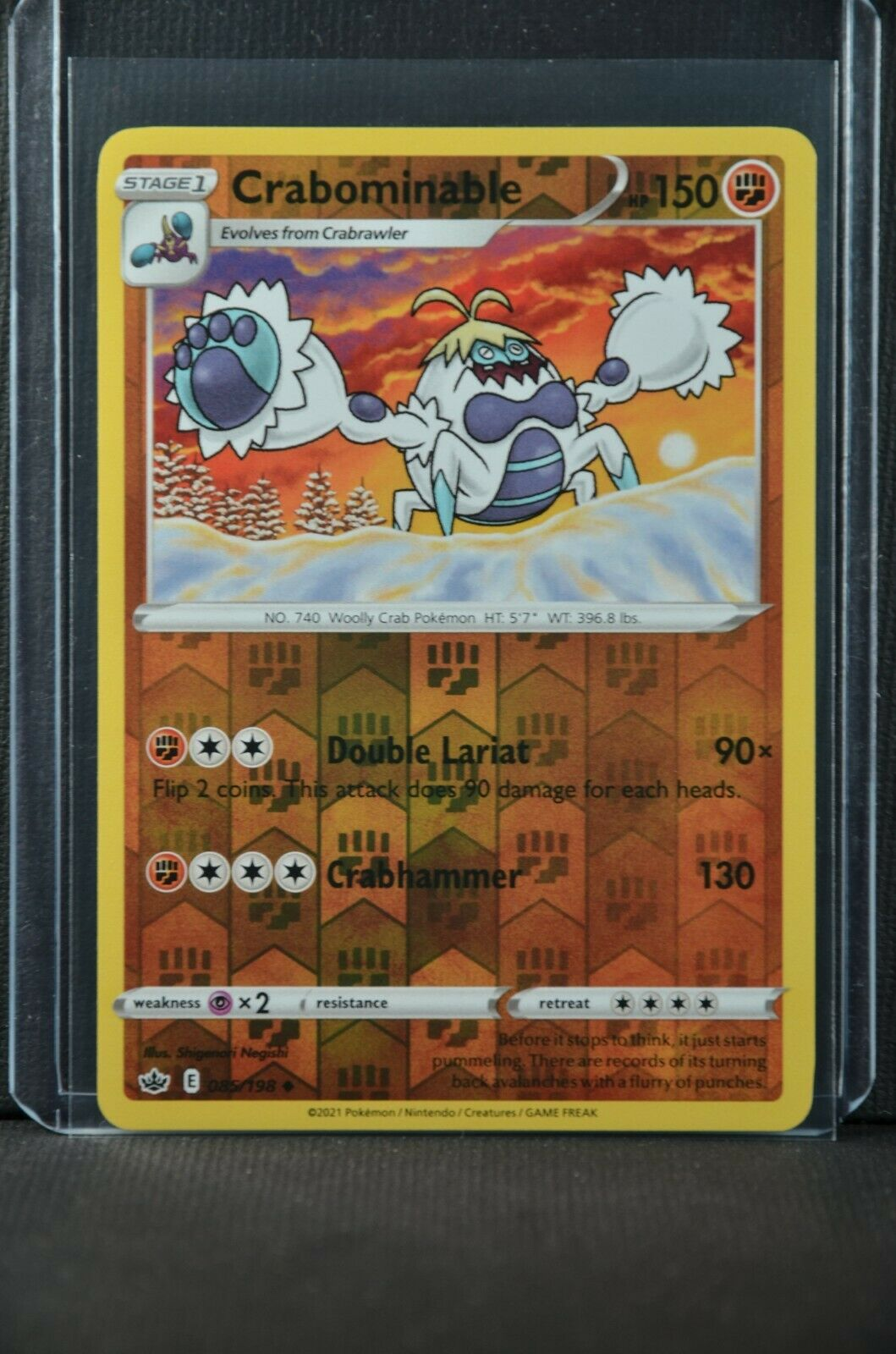 POKEMON TCG CARD Crabominable 085/198 Chilling Reign 2021 REVERSE HOLO - NM/MT