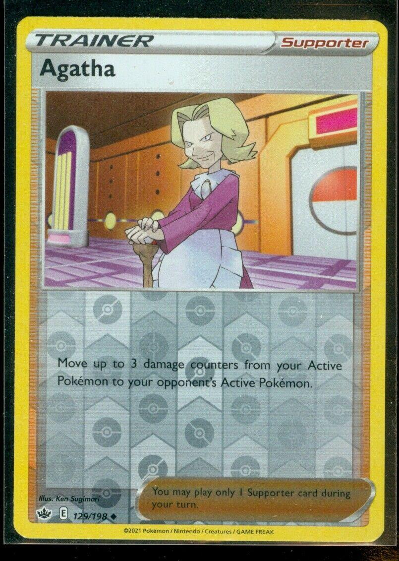 Pokemon AGATHA 129/198 Chilling Reign - Rev Holo - MINT
