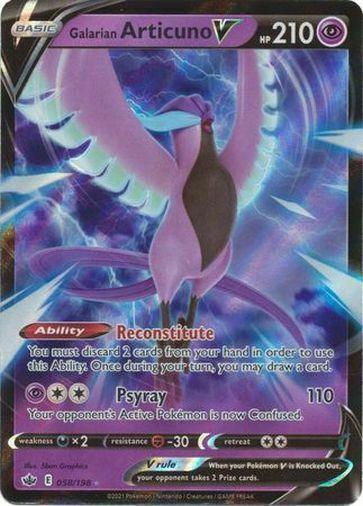 Pokemon Chilling Reign Galarian Articuno V Ultra Rare 058/198