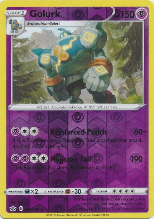 x1 Golurk - 066/198 - Rare - Reverse Holo Pokemon SS06 Chilling Reign M/NM
