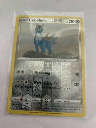 Pokemon Card Chilling Reign Cobalion - 114/198 - Rare Reverse Holo NM/ Mint