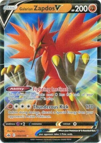 Galarian Zapdos V 080/198 Pokemon SWSH Chilling Reign Pokemon Card
