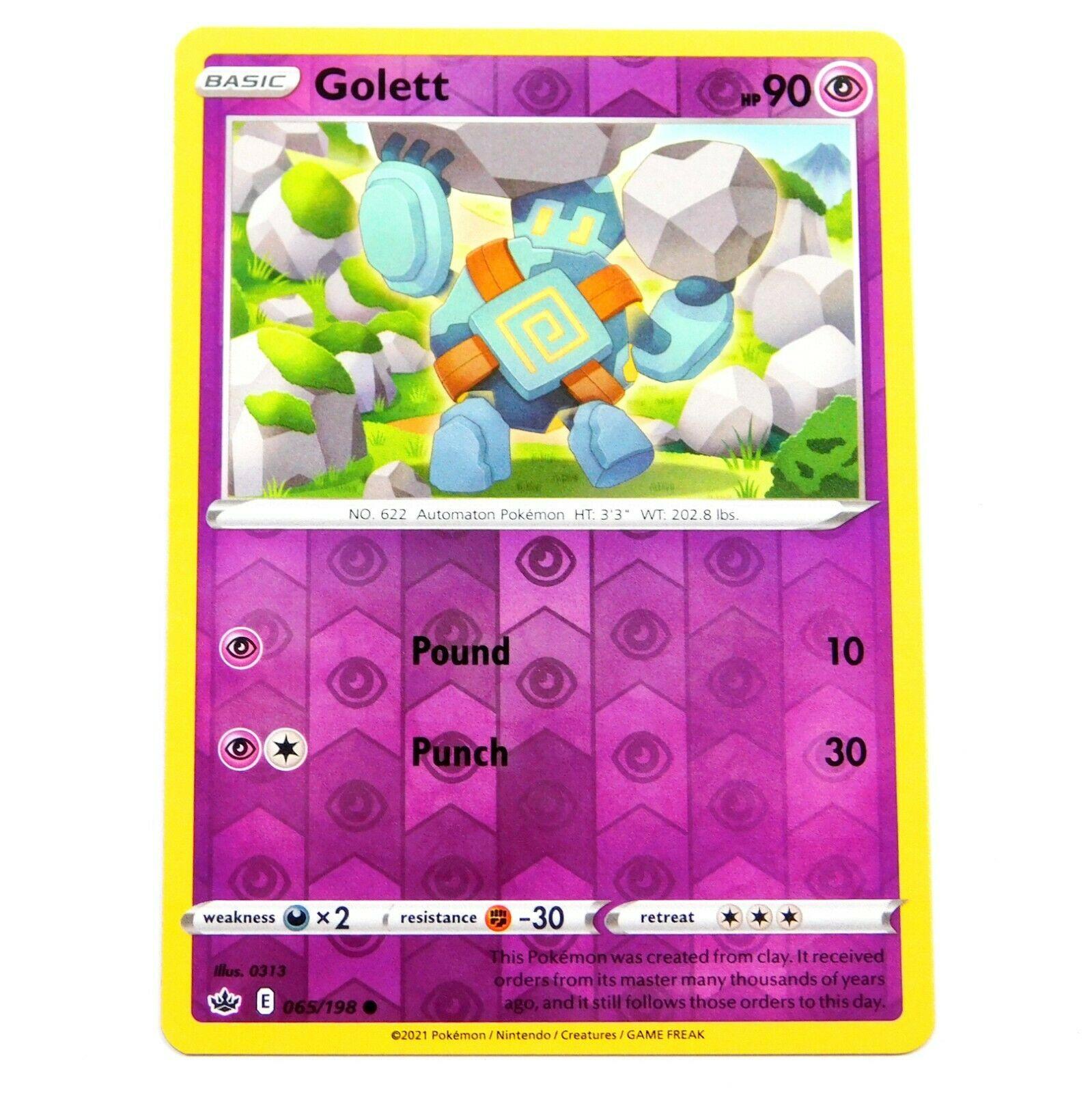 Golett 065/198 Reverse Holo Chilling Reign Pokemon Card NM/M
