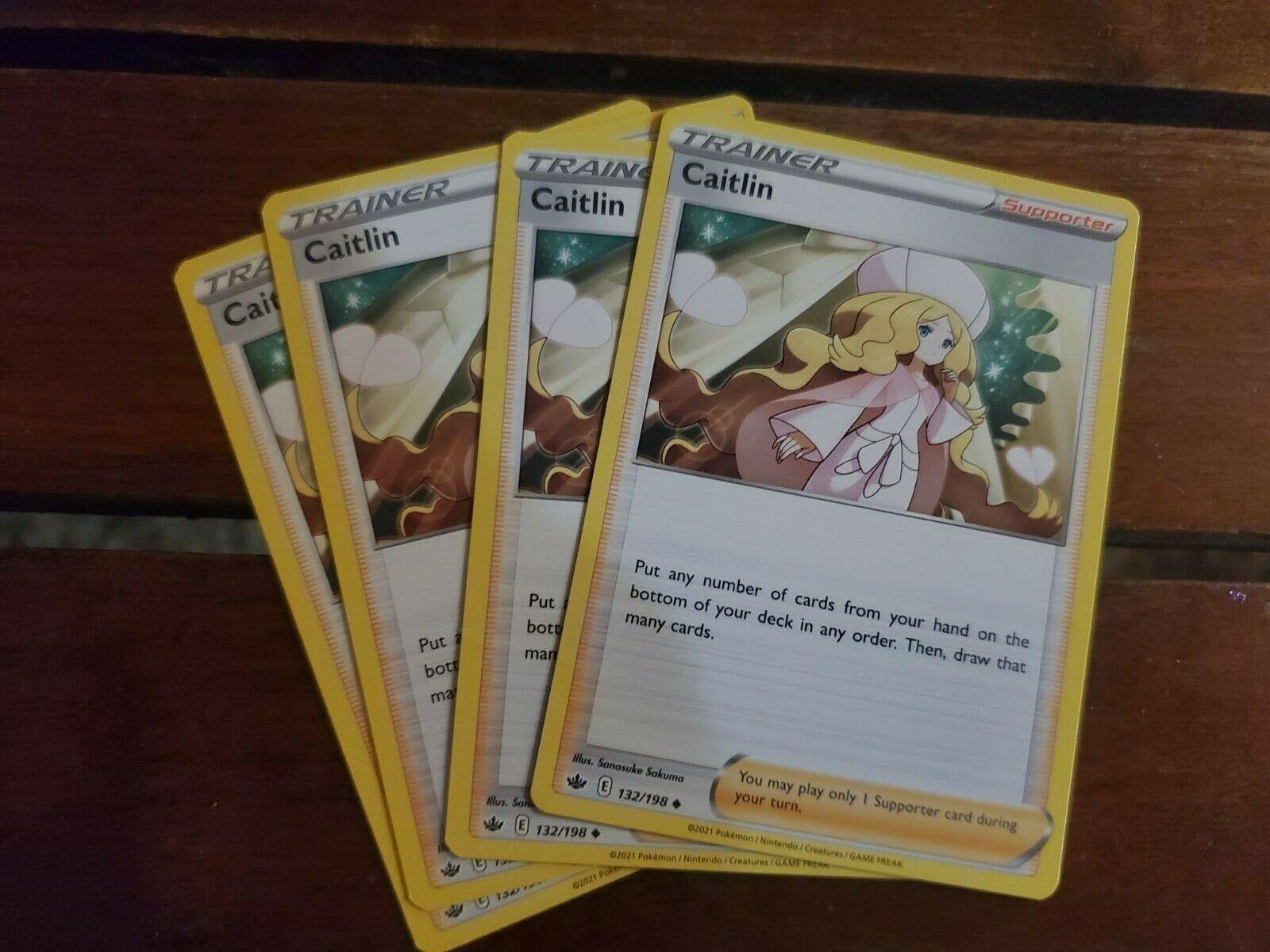 x4 Caitlin - 132/198 - Uncommon Pokemon SS06 Chilling Reign M/NM