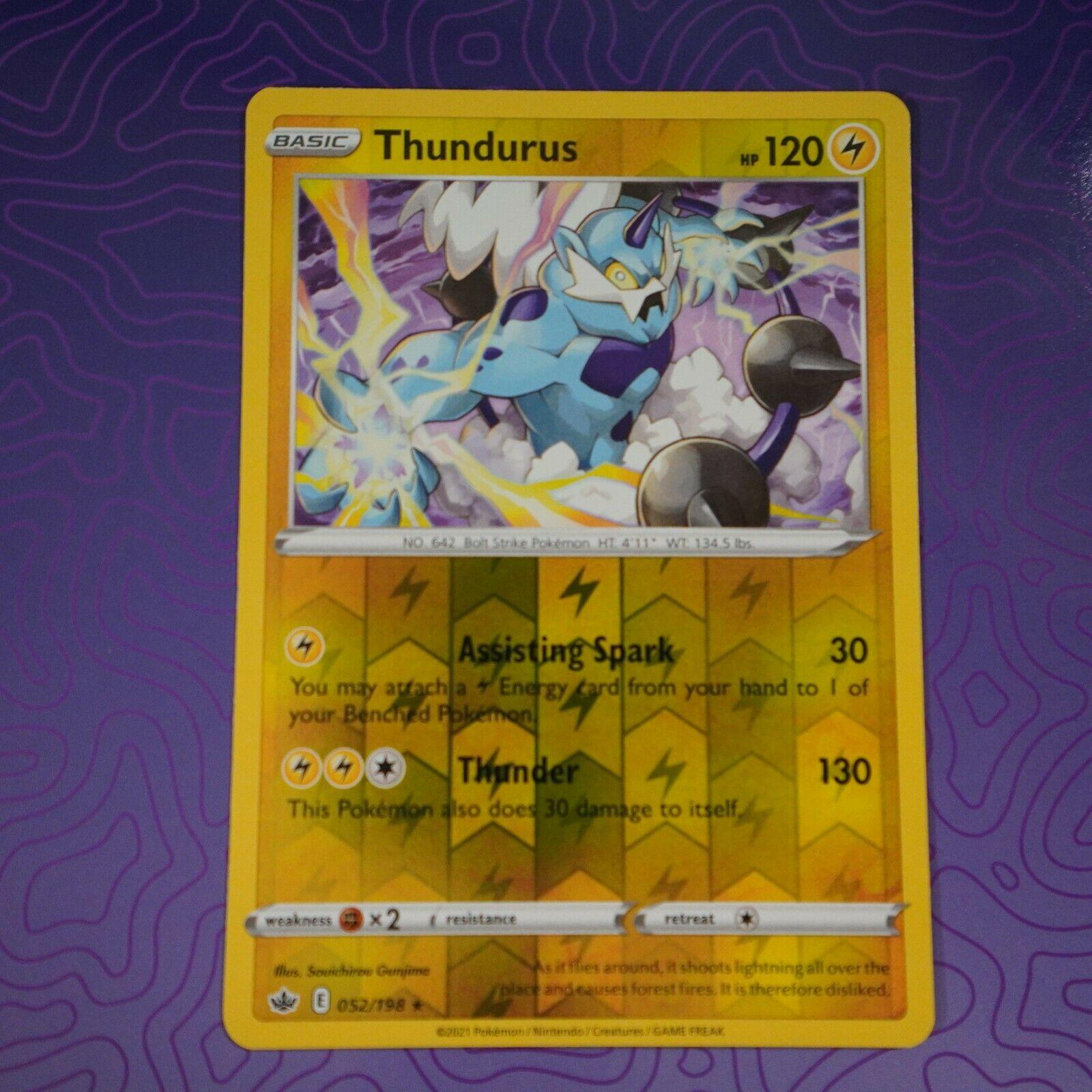 Pokemon Thundurus 052/198 Reverse Holo Rare Chilling Reign Near Mint