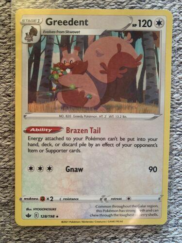 Pokemon Greedent 128/198 Chilling Reign Holo Rare