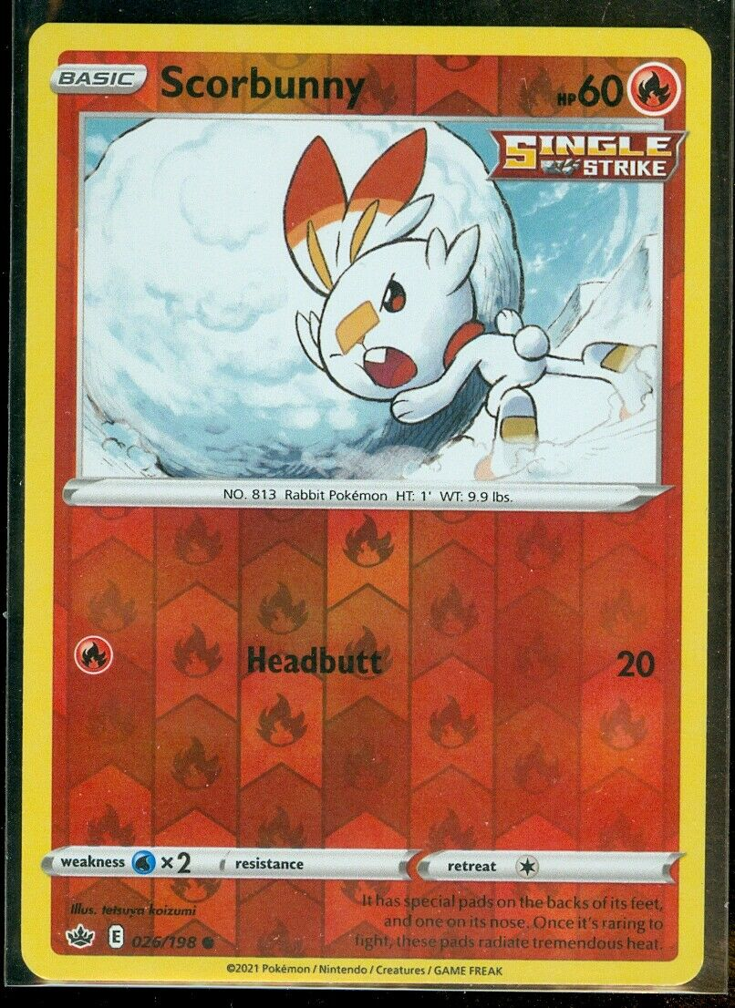 Pokemon SCORBUNNY 026/198 Chilling Reign - Rev Holo - - MINT