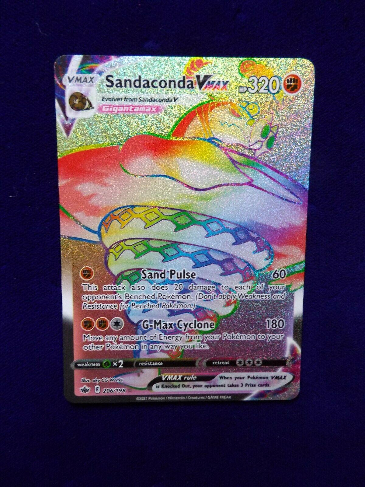 Sandaconda VMAX 206/198 - Rainbow Secret Rare Card - Pokemon Chilling Reign