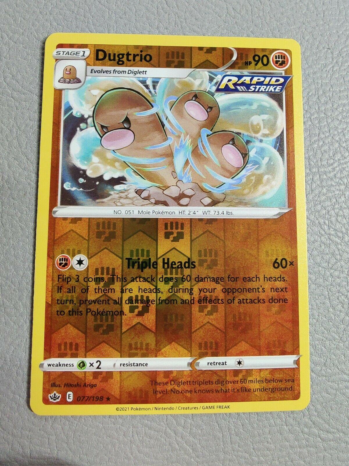 Dugtrio   Reverse Holo   MINT   Chilling Reign 077/198   Rare    Pokemon