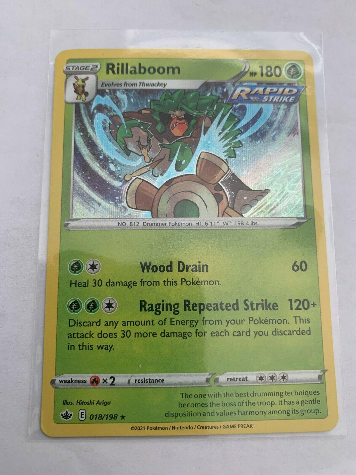 Pokemon Card Chilling Reign Rillaboom - 018/198 - Rare Holo NM/ Mint
