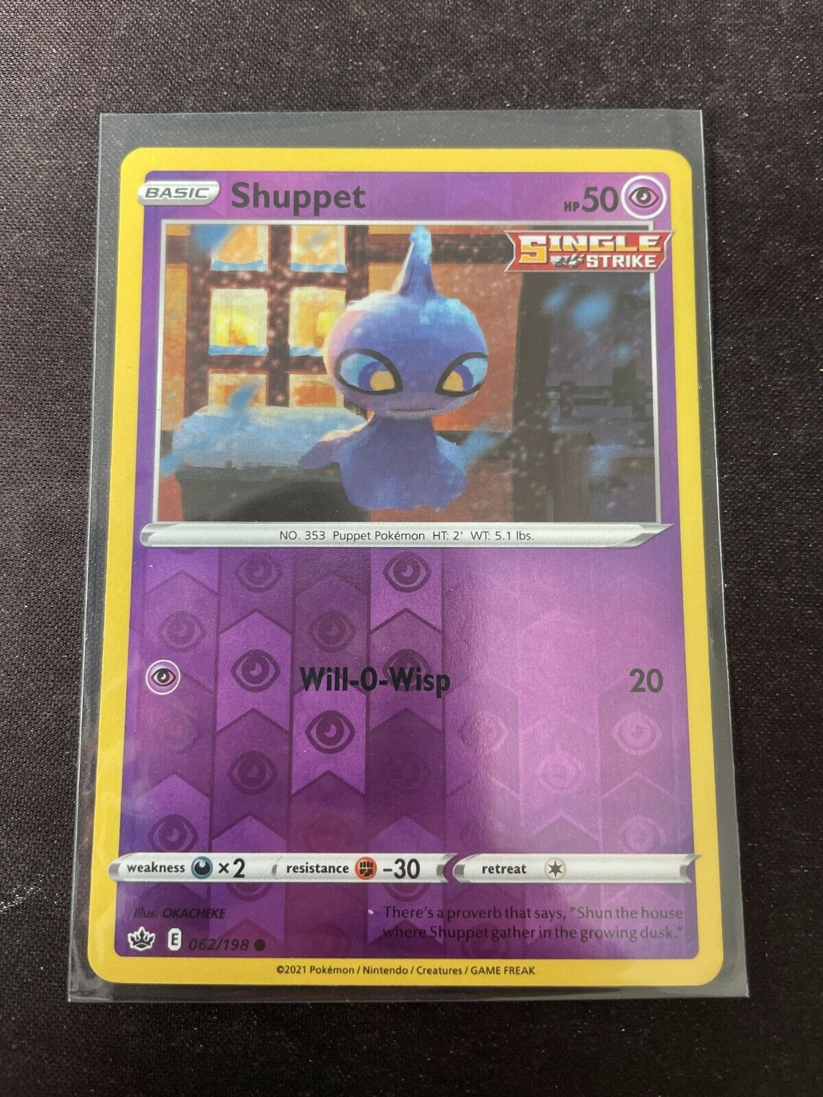 Pokemon TCG Chilling Reign 062/198 Shuppet Card Fresh Reverse Holo Mint Rare