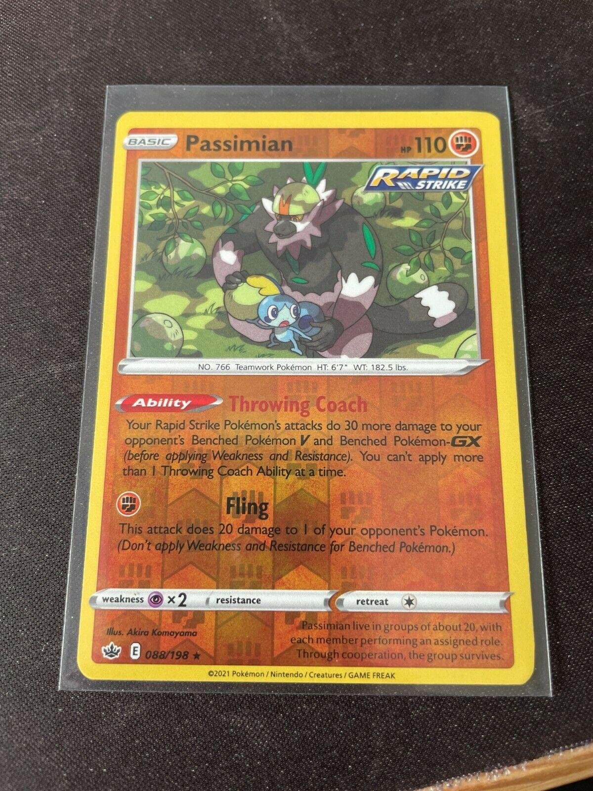 Pokemon TCG Chilling Reign 088/198 Passimian Card Fresh Reverse Holo Mint Rare