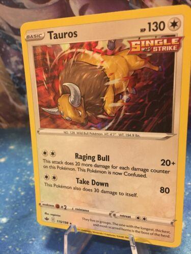 Pokemon : SWSH CHILLING REIGN TAUROS 115/198 RARE HOLO + Reverse!